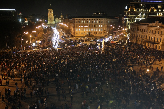 A general view shows the square in front of the Mikhailovsky Zlatoverkhy Cathedral during a rally supporting EU integration in Kiev