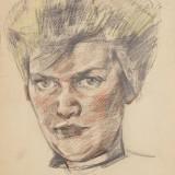 Віктор Зарецький. Портрет Алли Горської, 1962, папір, кольоровий олівець, 28х20