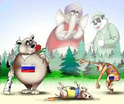 Доволі типова ілюстрація геополітичних уявлень росіян, що не повністю розділяють російську офіційну позицію. Україні, тим не менше, все одно віддається роль не учасника, а жертви конфлікту.