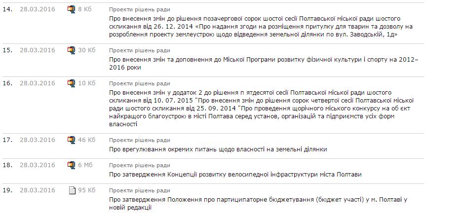 Скріншот з сайту Полтавської міської ради