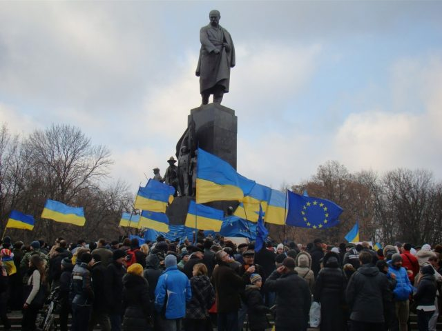A typical Euromaidan Kharkiv assembly Photo by Viktor Garbar