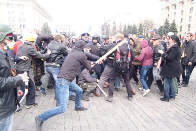 Kharkiv, April 7, 2014, Freedom Square, Russians are beating patriots, police does not interfere. Photo by Andrij Bezuglyj
