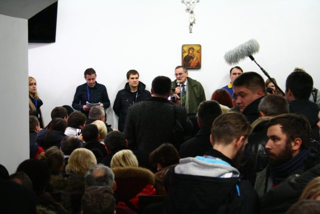 11 January, 2014, Zbigniew Romaszewski speaks at the opening of 1st Euromaidan Forum in Kharkiv in a church cellar
