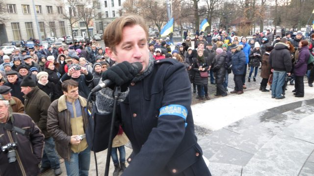 Kharkiv, 22 December 2013, Sergij Zhadan sings at the festival he organized at the regular Sunday Euromaidan rally-fest Photo by Nataliya Zubar