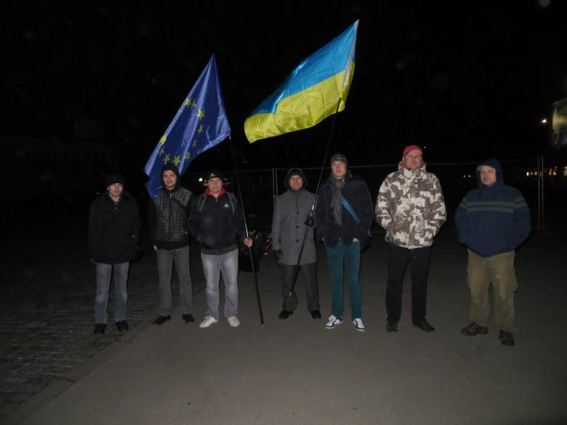 First Euromaidan Kharkiv assembly starts. Kharkiv, Freedom Square, 2:15 am, November 22, 2013 Photo by Viktor Garbar