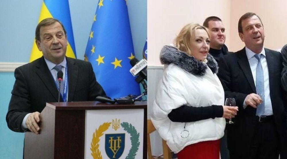 Вадим Стогній під час офіційного виступу та після (Фото з сайту ПНТУ та з соціальних мереж)