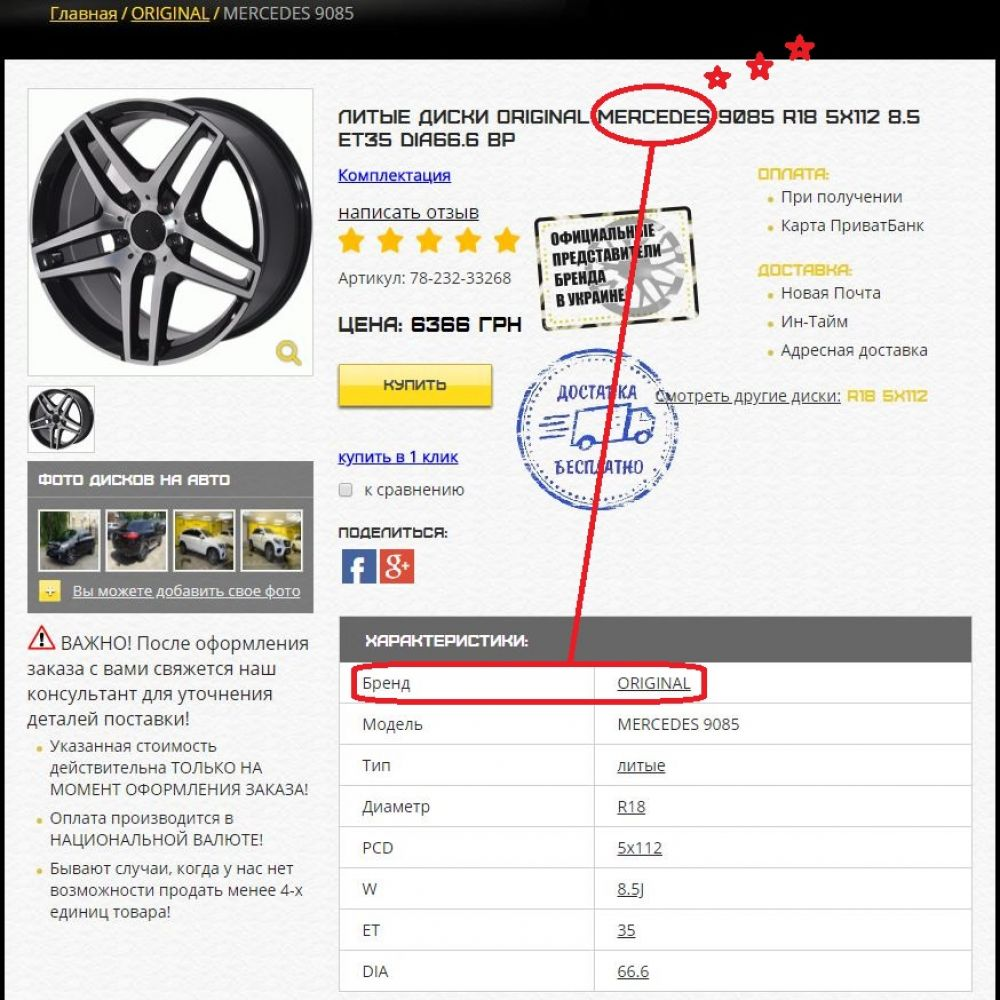 Характеристика дисків Original 9085 (За даними сайту avtodiski.net.ua)